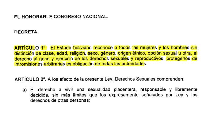 La ley marco sobre derechos sexuales y reproductivos