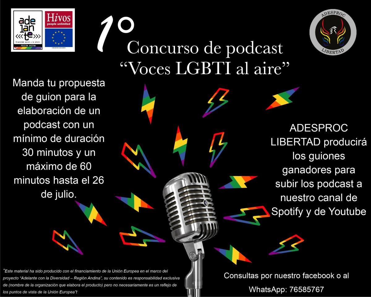 """Convocatoria Concurso de podcast """"Voces LGBTI al aire"""""""