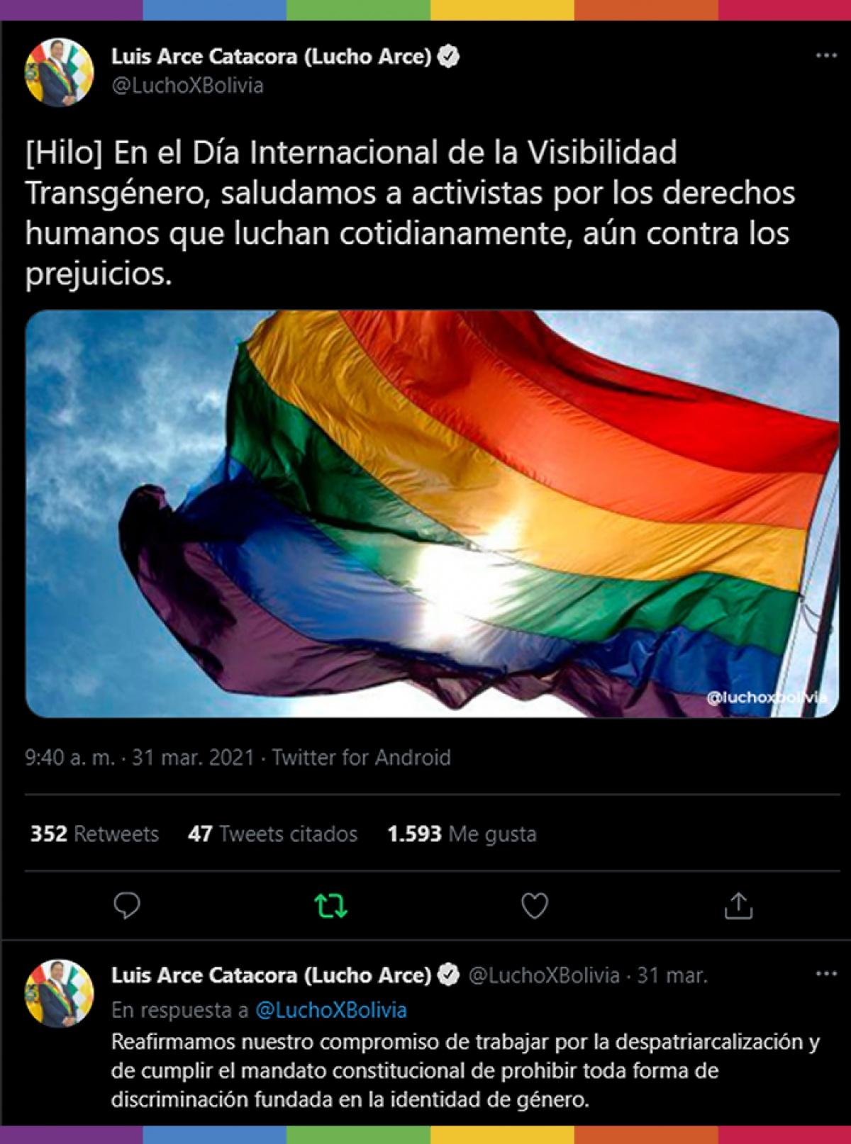 El Presidente del Estado Plurinacional de Bolivia manda un mensaje por el Día de la Visibilidad Trans
