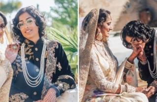 Pareja de lesbianas indio paquistaníes se casan con un looks tradicionales de novia y novio y es HERMOSO.
