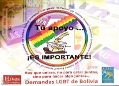 Tú apoyo Es importante! Hay que unirse, no para estar juntos, sino para hacer algo juntos Demandas LGBT de Bolivia